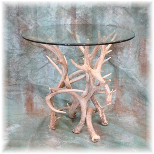 Mule Deer Antler End Table with Glass Top