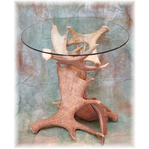 Moose Antler End Table with Glass Top