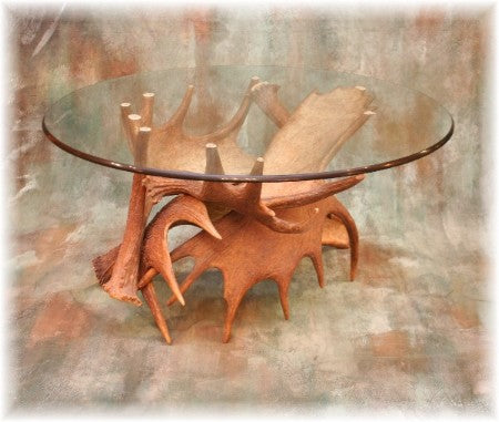 Moose Antler Coffee Table with Glass Top