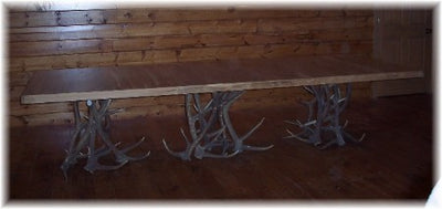 11.5' Dining Table with Elk Antler Pedestals