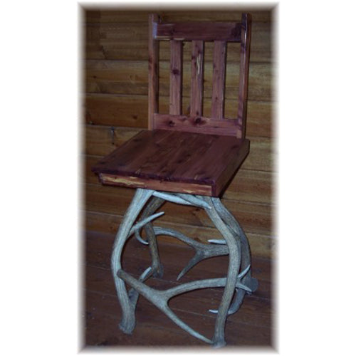 Elk Antler and Hardwood Chair