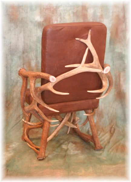 Elk Antler and Leather Captain's Chair