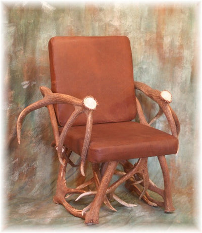 Elk Antler and Leather Arm Chair and Ottoman