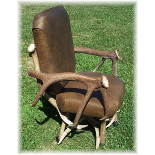 Elk Antler and Leather Office/Gaming Chair