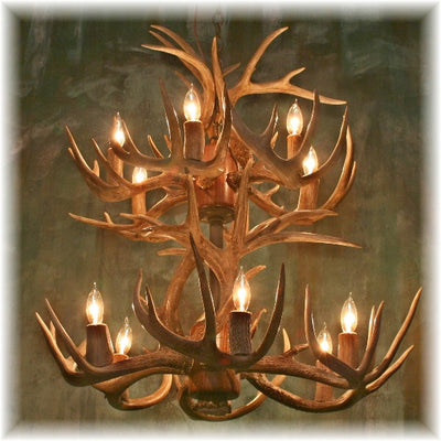 18 Antler, 12 Light Small Two Tier Whitetail Antler Chandelier