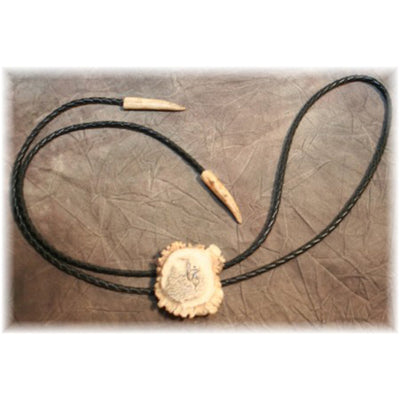 Carved Whitetail Burr Bolo w/ antler tips