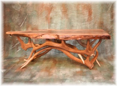 Elk Antler Coffee Table with Walnut Slab Top