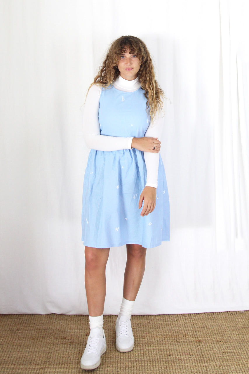 Smock Dress- Blue Jive
