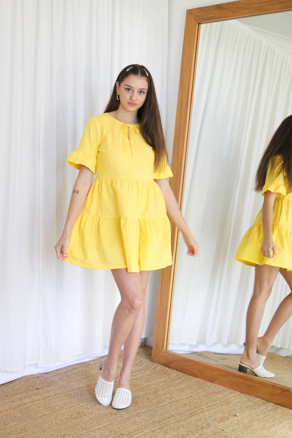 Augusta Tier Dress - Lemonade