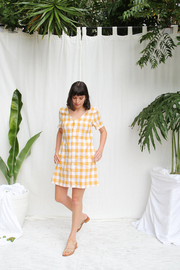 Juno Pinafore- Honey Check