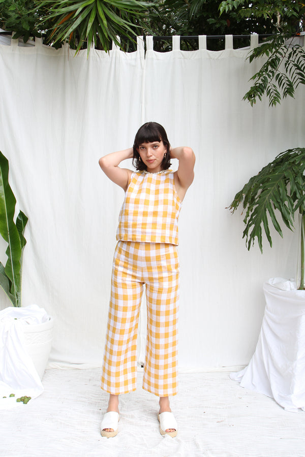 Cilla Trousers- Honey Check