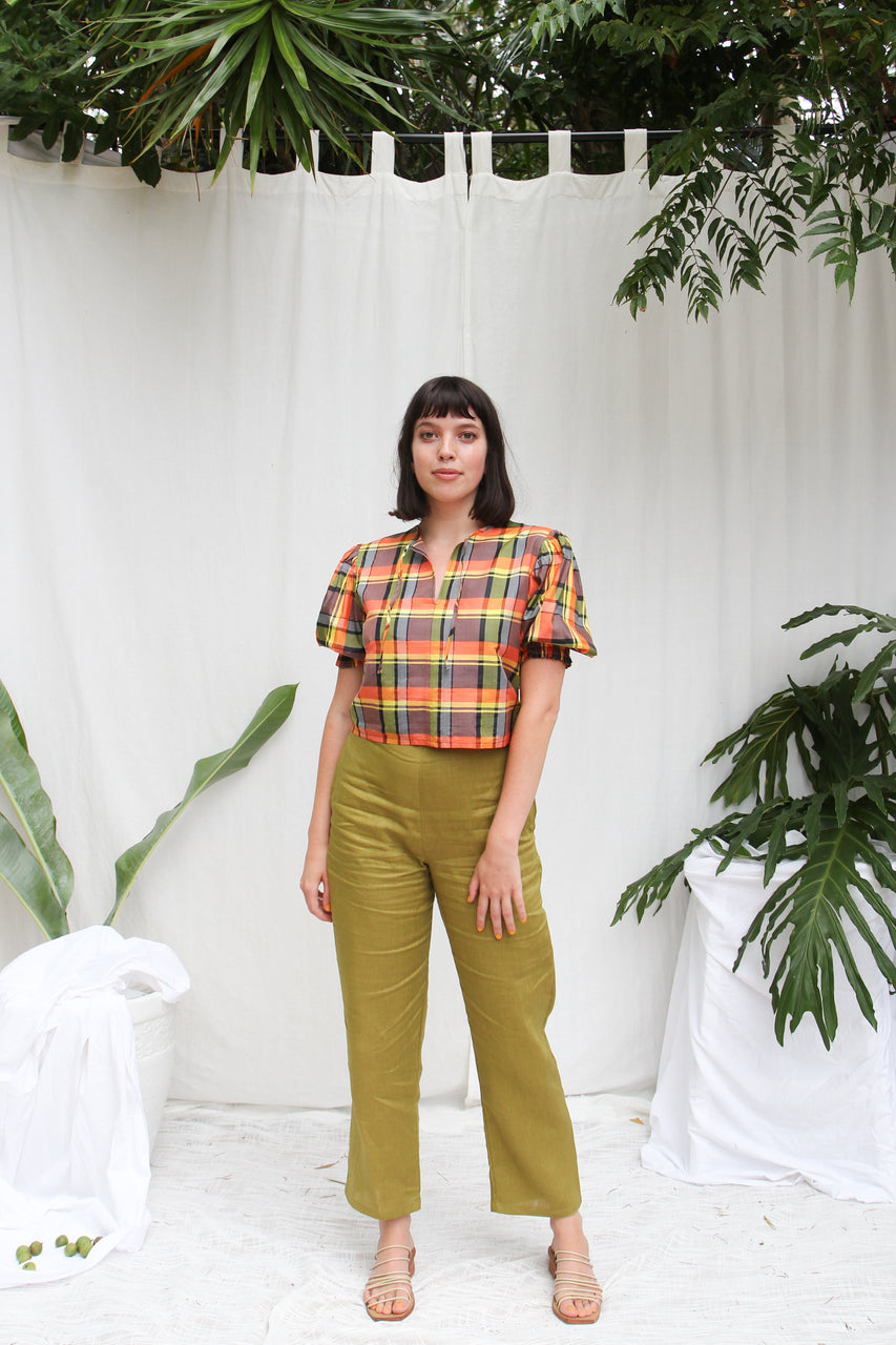 Sadie Blouse- Jungle Check