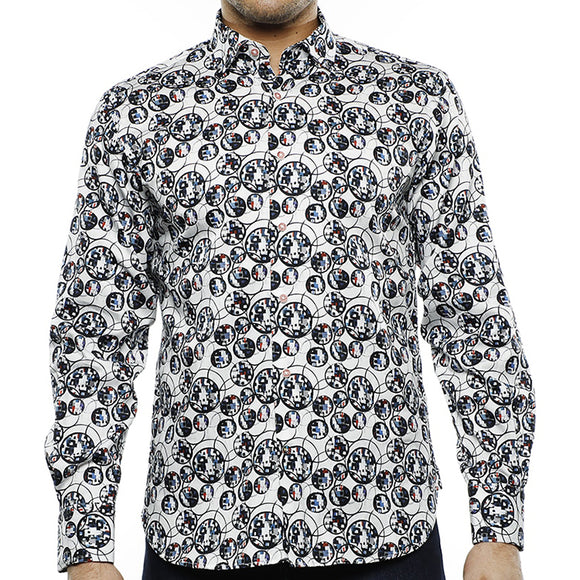 Luchiano Visconti Black and Multi Circles L/S Shirt