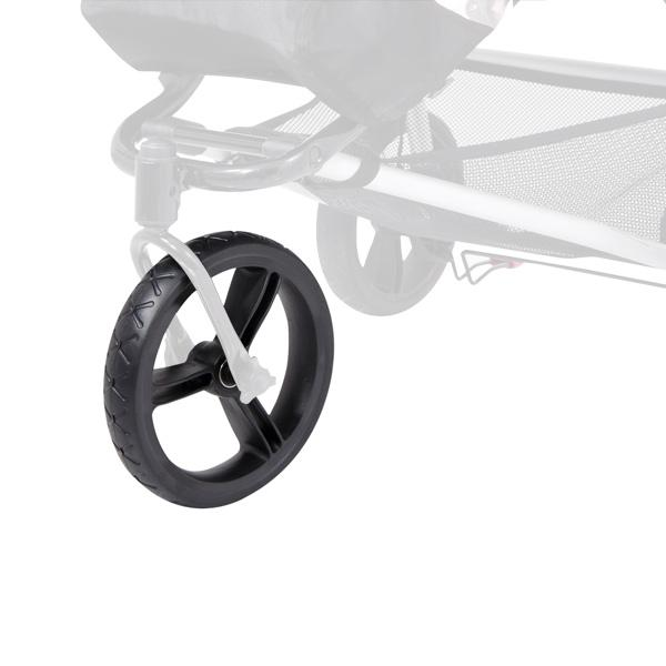 Mountain Buggy replacement 10 inch front maintenance free aerotech wheel shown on buggy in black_black