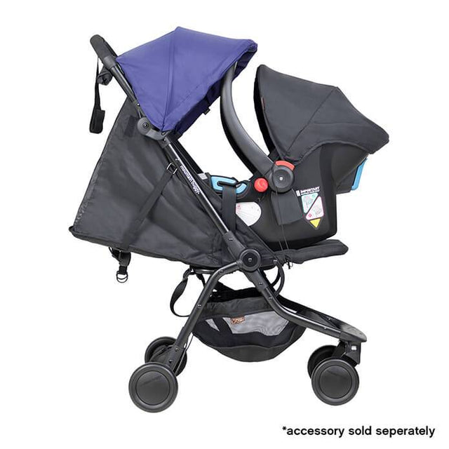 mountain buggy nano travel buggy in nautical blue colour with protect baby capsule for newborns side view_nautical blue
