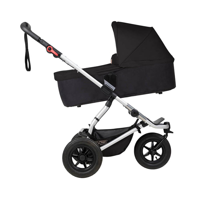 mountain buggy swift compact buggy with carrycot plus  in incline mode side view shown in color black_black