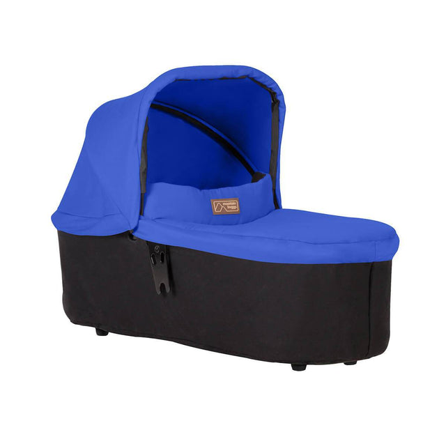 mountain buggy duet carrycot plus in lie flat mode 3/4 view shown in color marine_marine