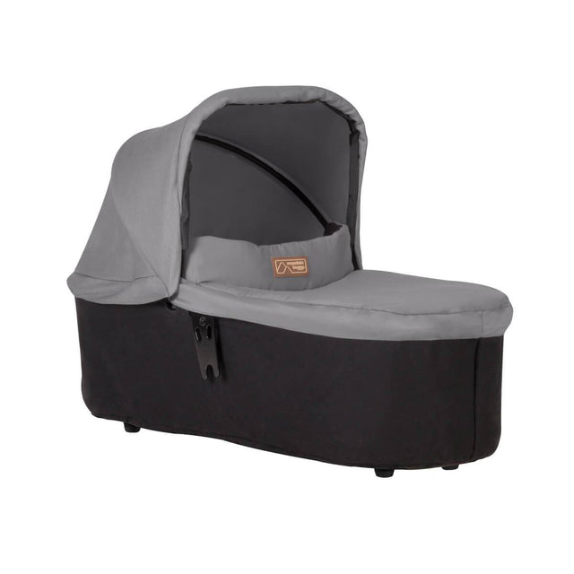 mountain buggy swift and mini carrycot plus in lie flat mode 3/4 view shown in color silver_silver
