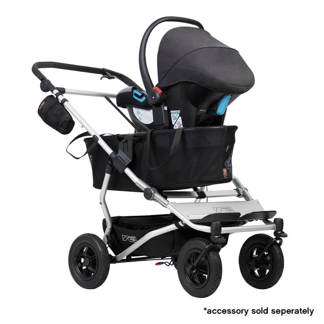 Mountain Buggy duet as a single buggy with protect car seat in colour silver_silver