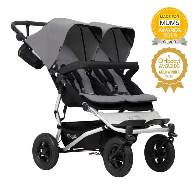 Mountain Buggy duet double buggy made for mums and oh baby award winner in colour silver_silver