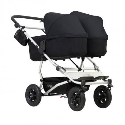 mountain buggy duet double buggy with two carrycot plus in lie flat mode 3/4 view shown in color black_black