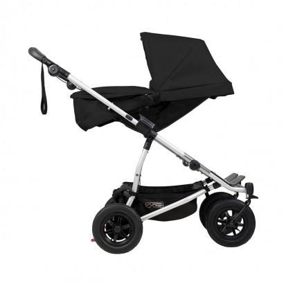 mountain buggy duet double buggy with two carrycot plus in lie flat mode side view shown in color black_black