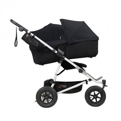 mountain buggy duet double buggy with one carrycot plus in incline mode side view shown in color black_black