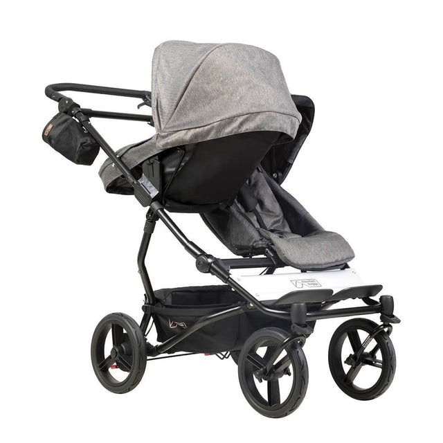 mountain buggy duet double buggy with one carrycot plus in parent facing mode 3/4 view shown in color herringbone_herringbone
