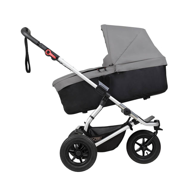 mountain buggy swift compact buggy with carrycot plus  in incline mode side view shown in color silver_silver