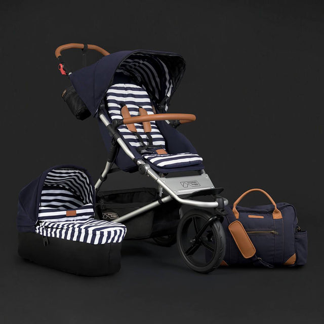 Mountain Buggy urban jungle luxury collection stroller and carrycot plus in nautical classic blue and white stripe colour_nautical