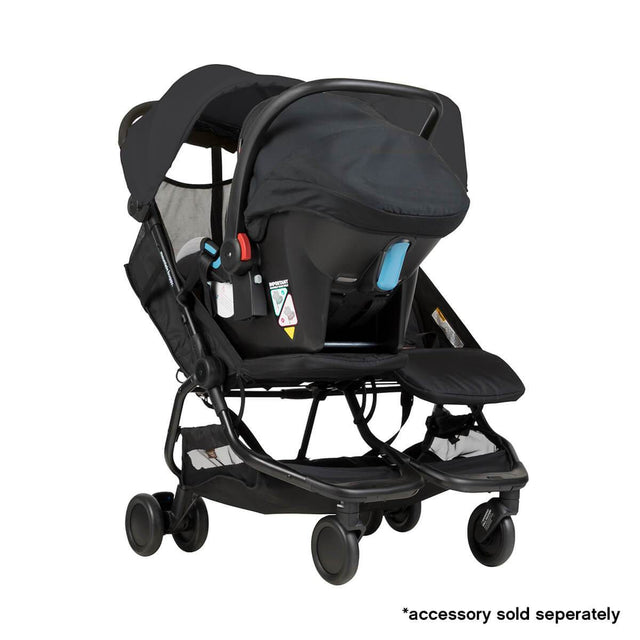 Mountain Buggy nano duo double lightweight buggy fitted with protect car seat in colour black_black