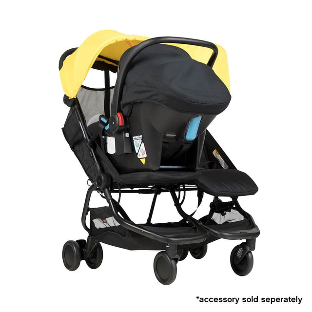 Mountain Buggy nano duo car seat adaptor attached to protect car seat on the nano du stroller in colour cyber_default