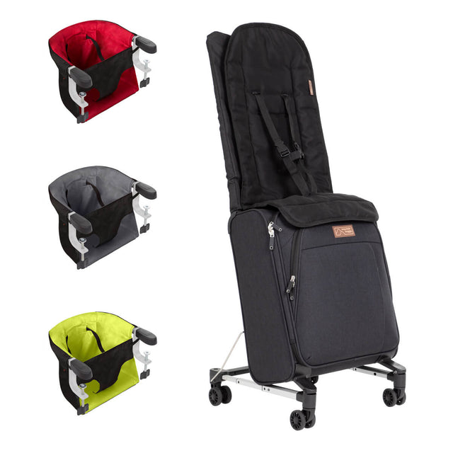 skyrider ride on suitcase shown front side angle with the child seat and harness in position - pod highchair bundle