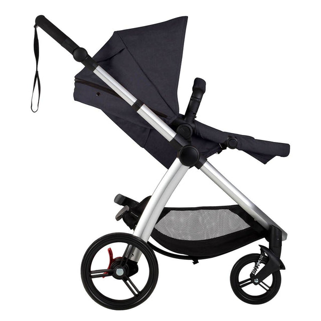 Mountain Buggy cosmopolitan 4 wheel modular buggy in with main seat reclined in colour ink_ink
