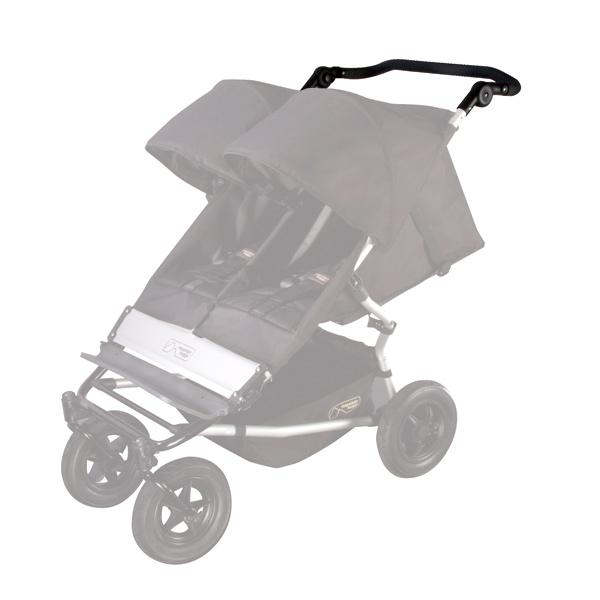 Mountain Buggy replacement duet buggy handle shown in position on buggy in colour black_black