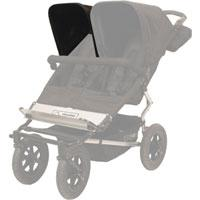 Mountain Buggy single duo buggy sunhood shown fitted on righthand side of buggy in flint_flint