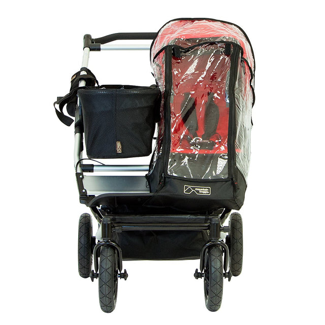 Mountain Buggy joey tote bag fitted on a duet buggy with single storm cover on main seat_default