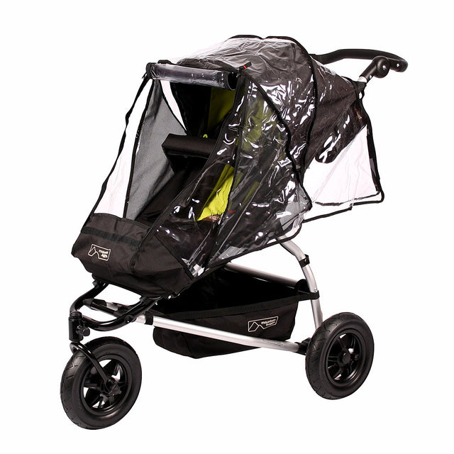 mountain buggy pre-2015 MB mini and swift storm cover zipped open in front on swift buggy 3/4 view_default