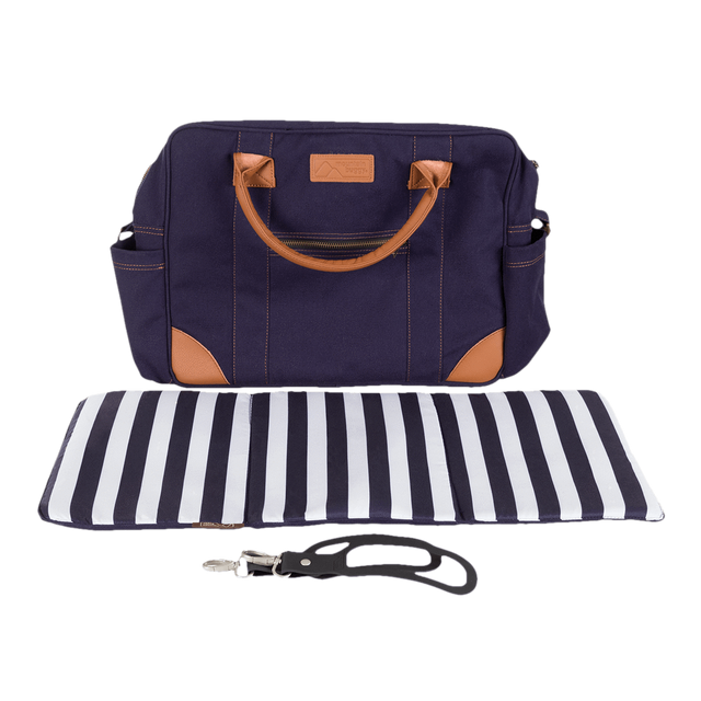 Mountain Buggy satchel with luxury leather trim shown with included change mat and satchel clips to attach to buggy in blue nautical_nautical