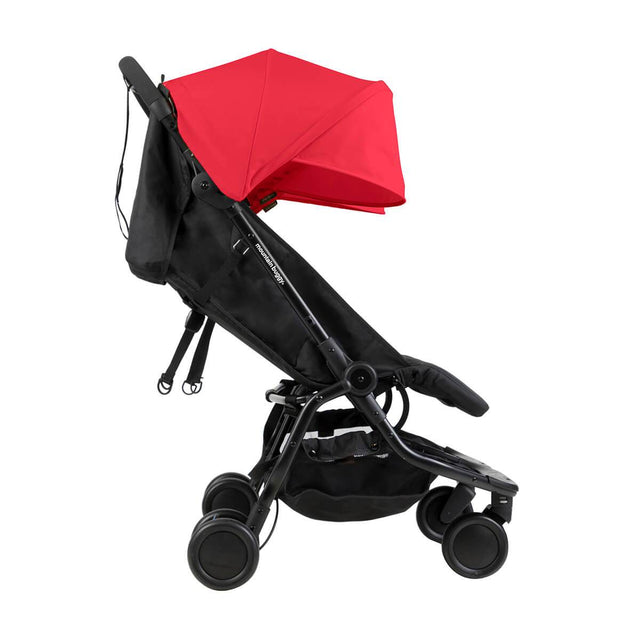 Mountain Buggy nano duo double lightweight buggy side view with seat reclined in colour ruby_ruby