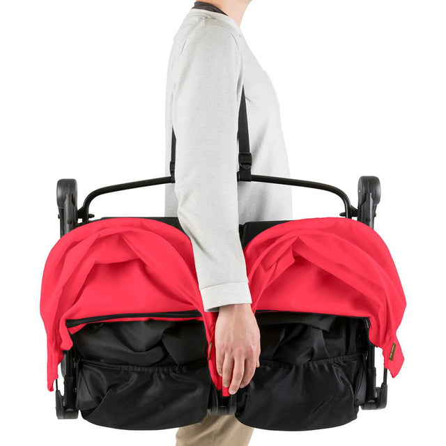 Mountain Buggy nano duo double lightweight buggy with shoulder strap in colour ruby_ruby