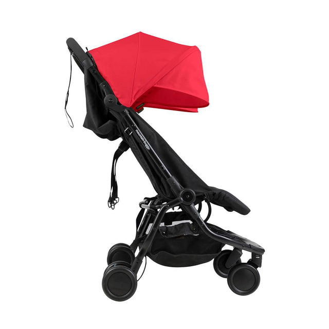Mountain Buggy nano duo double lightweight buggy side view in colour ruby_ruby