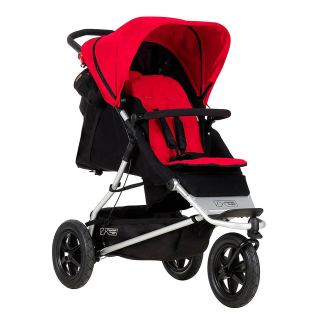Mountain Buggy +one stroller in berry red colour with newborn seat in rear_berry