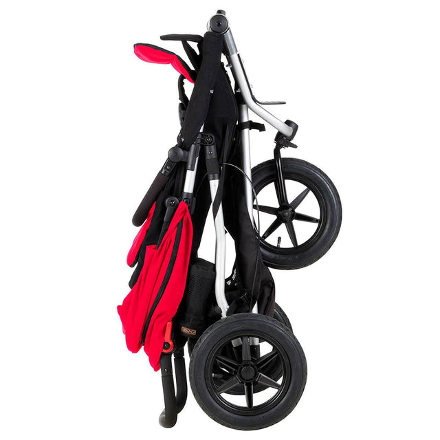 Mountain Buggy +one stroller in berry red colour folds down compactly_berry