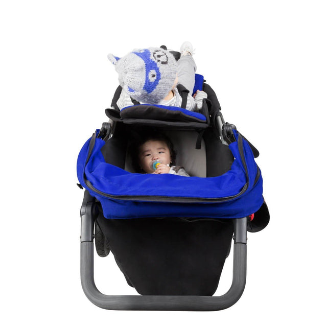 Mountain Buggy +one stroller in marine blue colour with toddler in front and newborn in lay flat rear position_marine