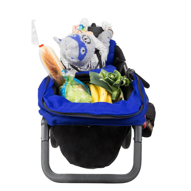 Mountain Buggy +one stroller in marine blue colour has all your storage needs sorted with one toddler in front_marine