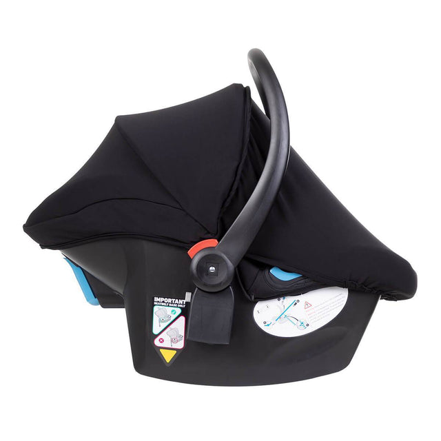 protect 2020 infant car set shown side on with integrated sun cover in place_black-silver