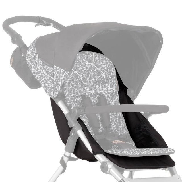 Mountain Buggy replacement seat fabric for terrain stroller shown attached to frame in colour grey graphite_graphite