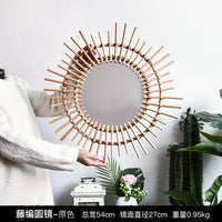 rattan makeup mirror creative art decorative round mirror people bathroom living room wall hanging mirror large