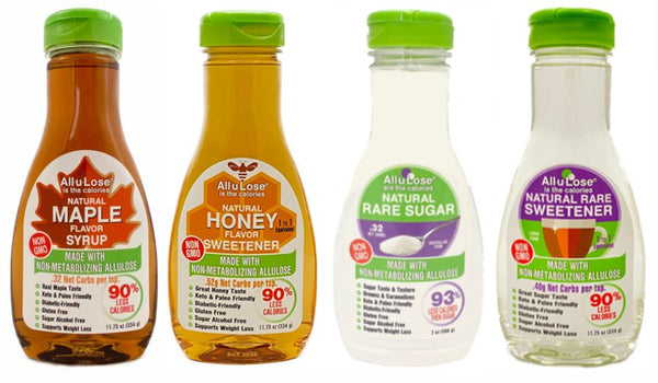 All-u-Lose Variety Pack of 4, Maple 11.75oz, Crystalline 7oz, Honey 11.75oz, & Naturally Sweetened 11.75oz